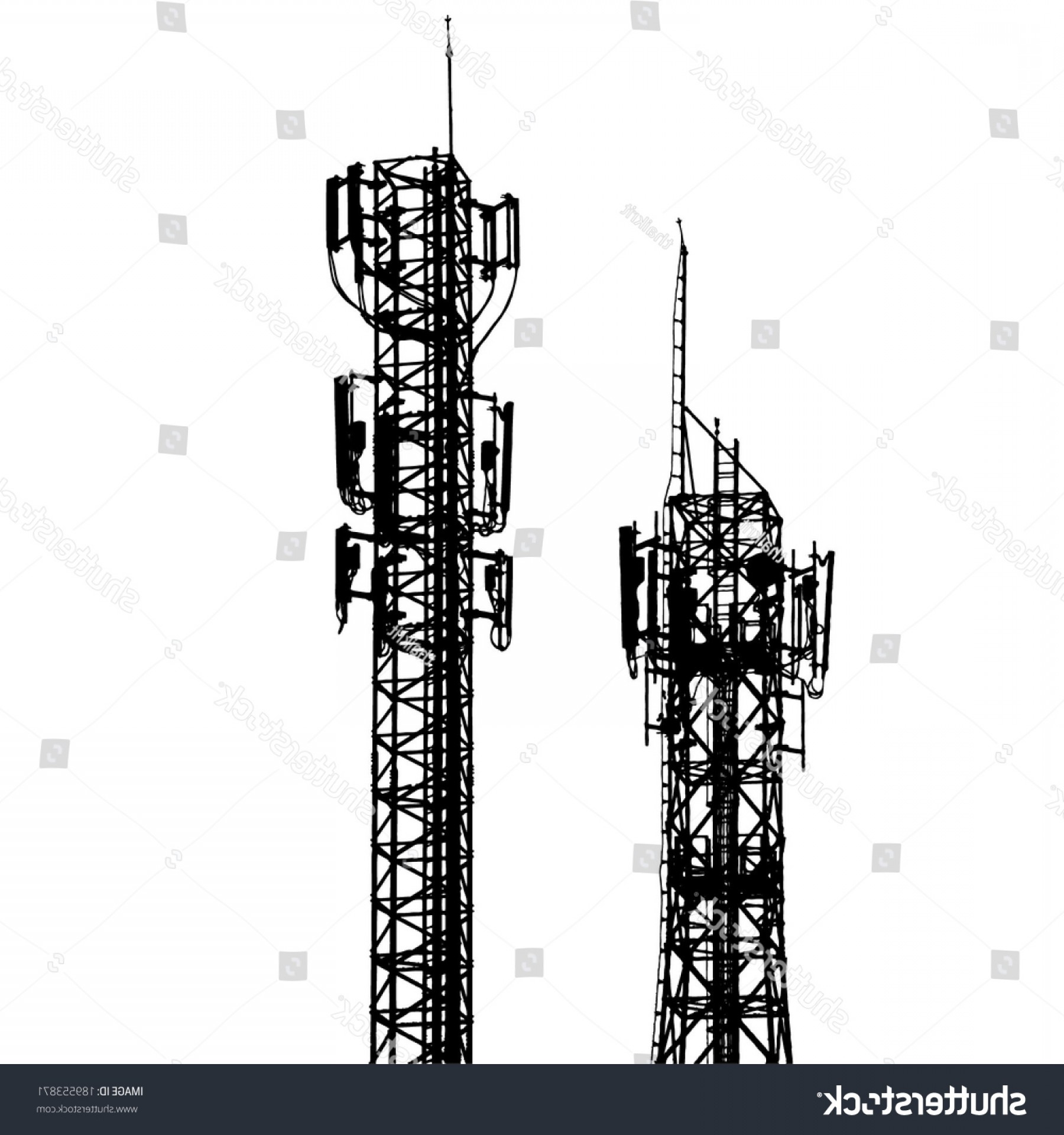 Vector Phone Tower: Vector Telecommunications Tower Different Antenna Isolated