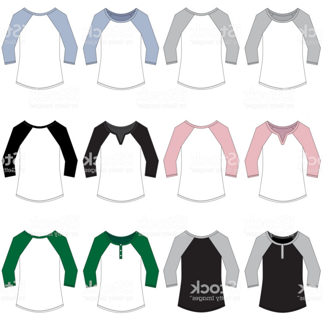 Long Sleeve Jersey Vector Template: Vector Template For Women Baseball Style Raglan Tees Gm