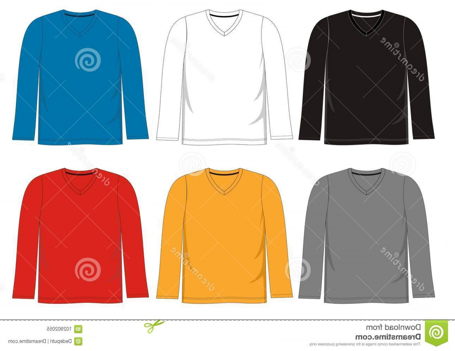 Long Sleeve Jersey Vector Template: Vector Template T Shirt Men Color Black White Blue Yellow Red Template T Shirt V Neck Long Sleeve Image