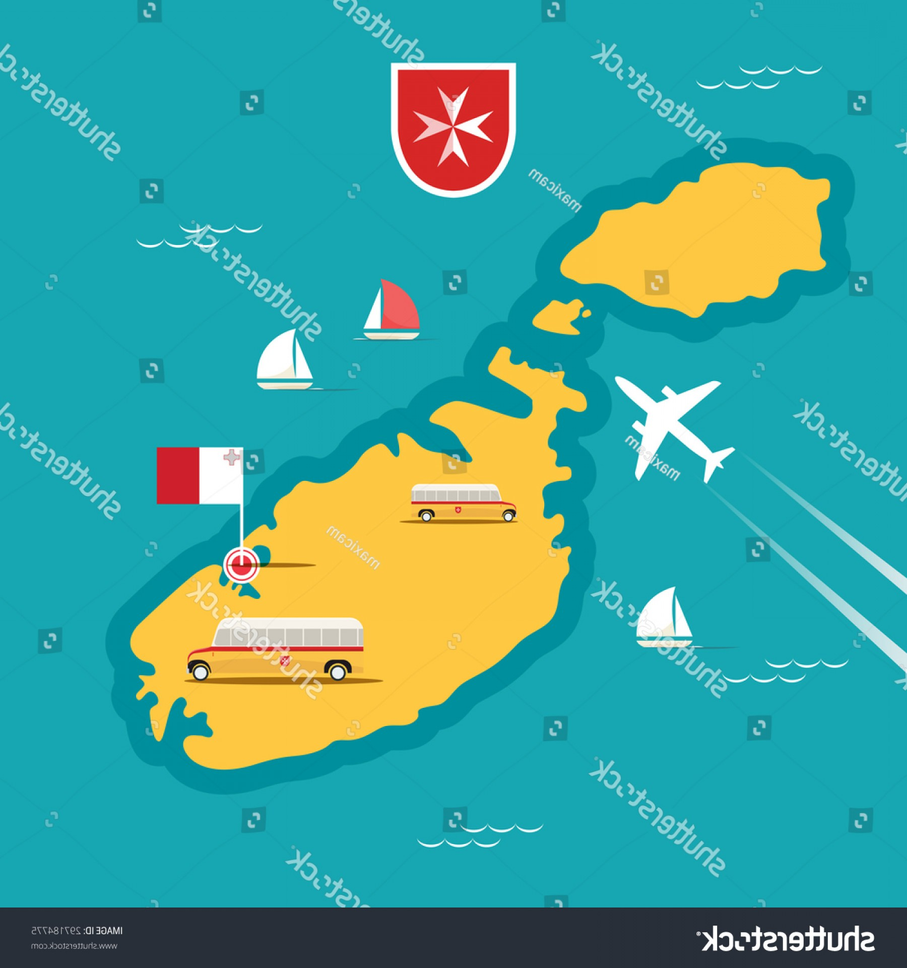 Maltese Cross Solid Vector: Vector Travel Map Malta Flat Style