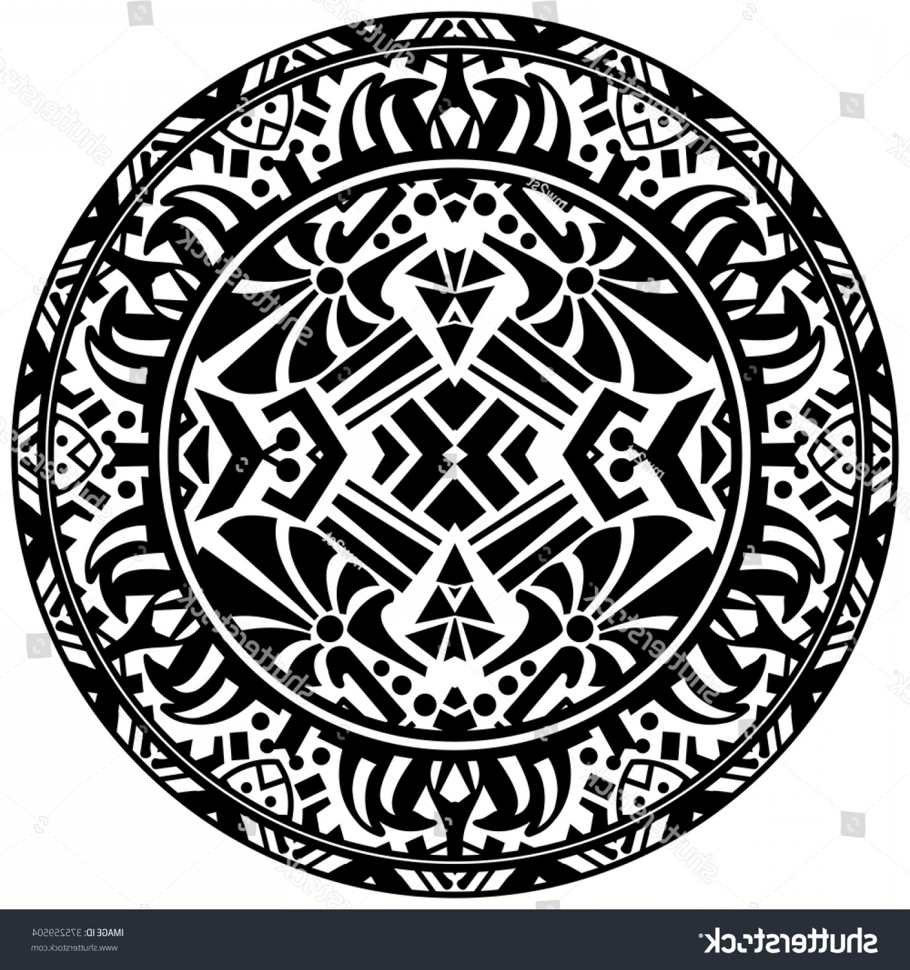Mayan Vector: Vector Tribal Ornamental Circle Reminiscent Mayan