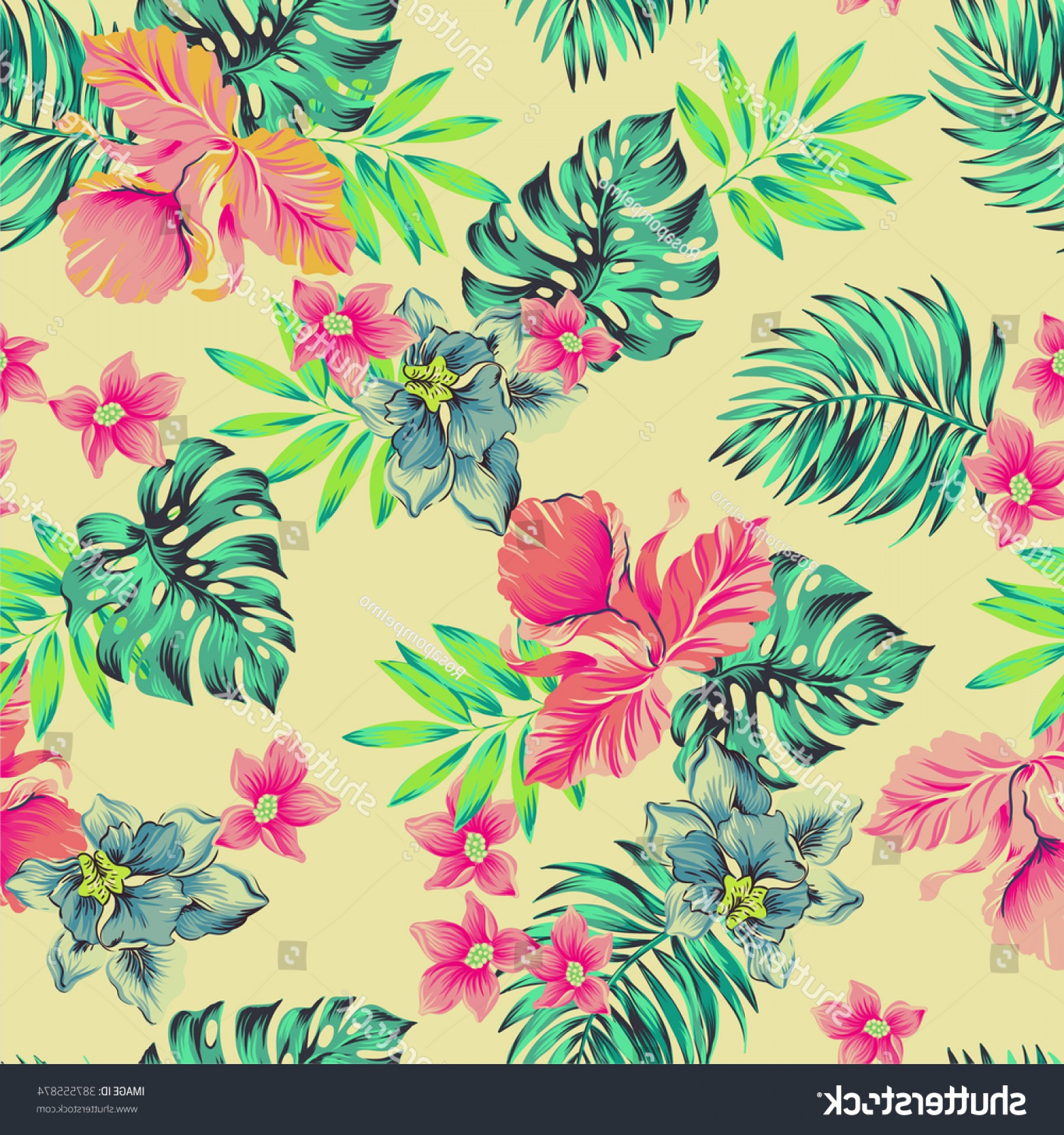 Hawaiian Pattern Vector: Vector Tropical Pattern Seamless Floral Composition