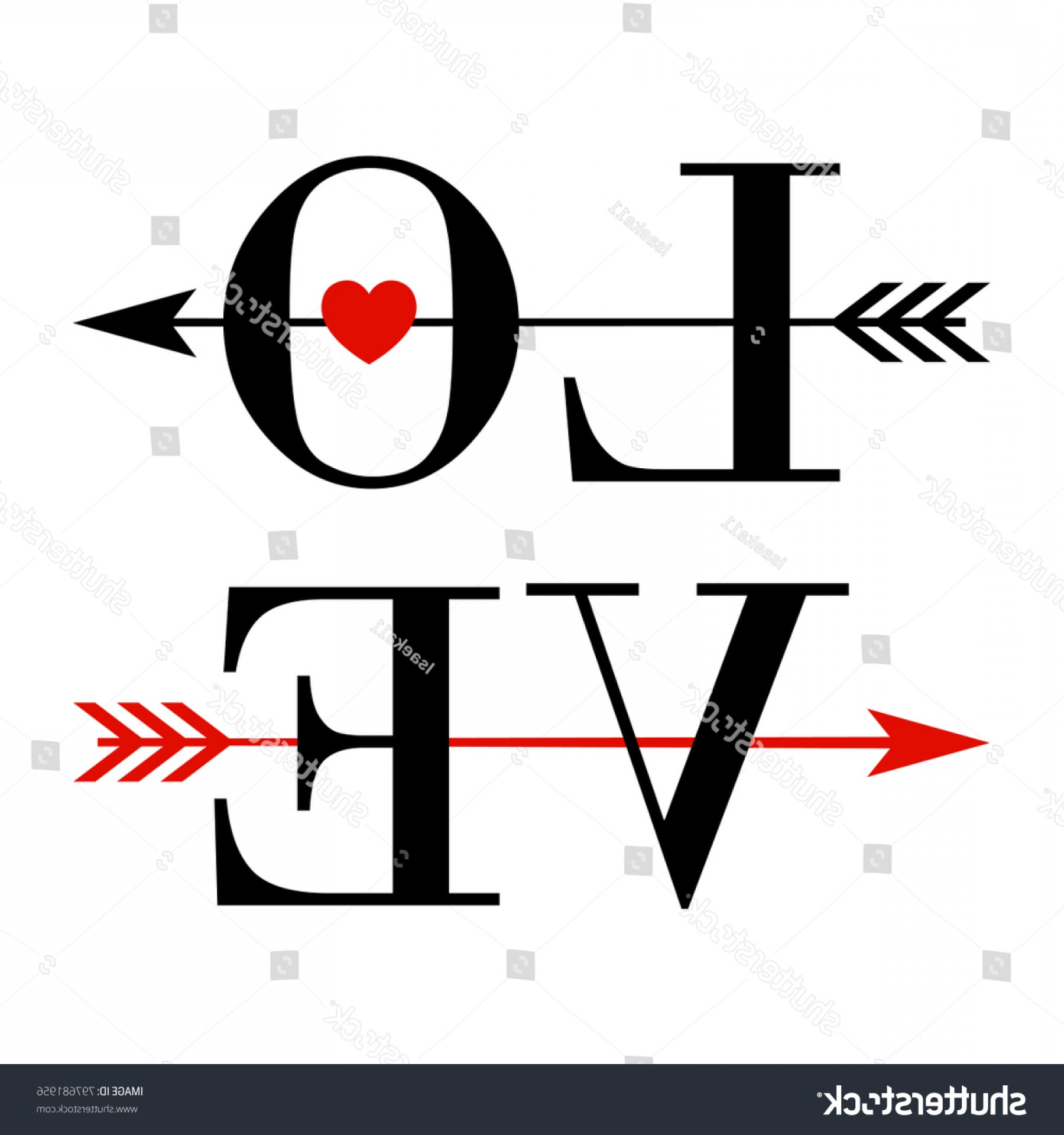 Love With Arrows Vector: Vector Typography Text Love Decorated Arrow