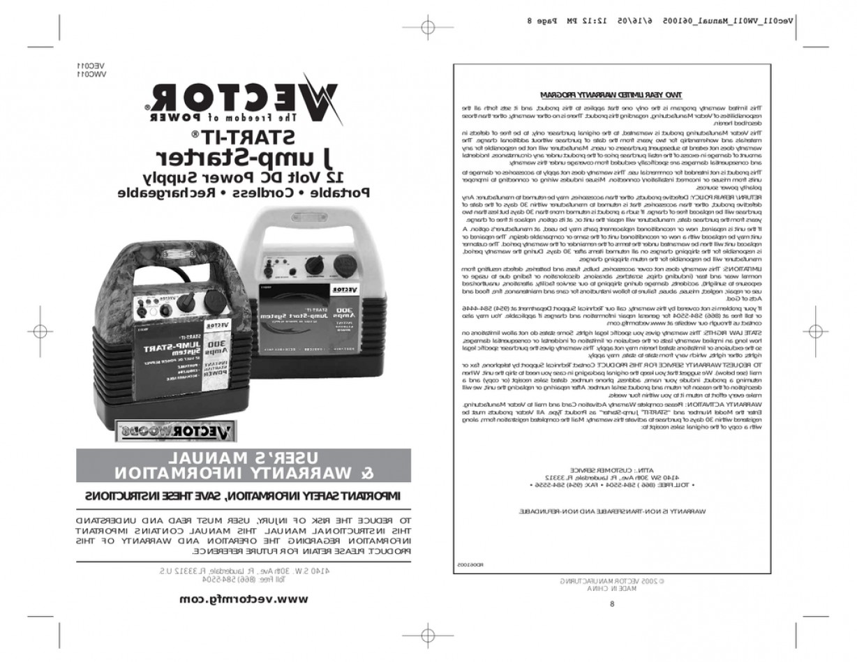 Vector 12 Volt DC Power Supply: Vector Vec Automobile Battery Charger User Manual