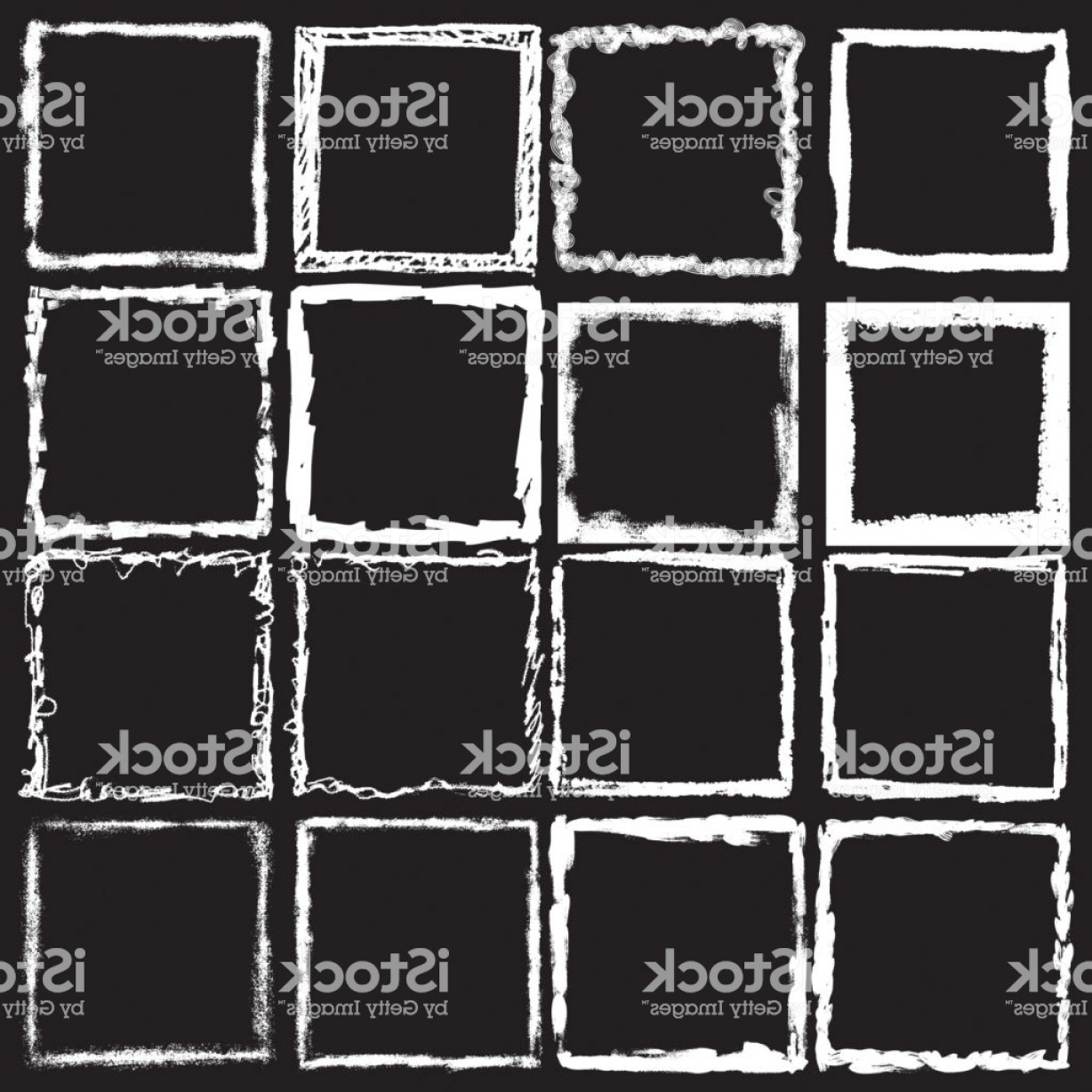 Square Black Vector Border Frame: Vector Vintage Grunge Black White And Color Distress Border Frame For Your Design Gm