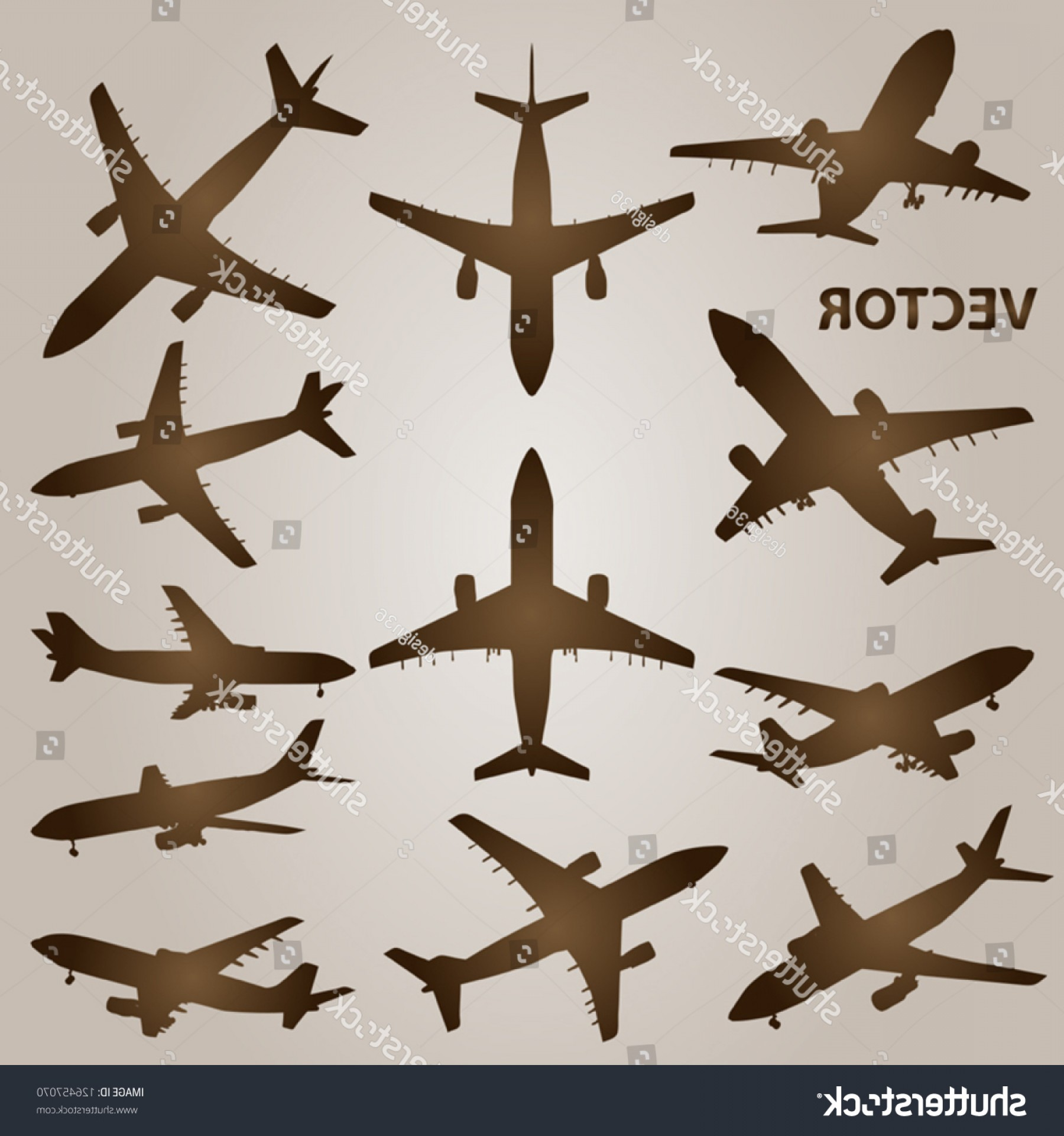 Old School Airplane Fighter Silhouette Vector: Vector Vintage Old Set Brown Planes