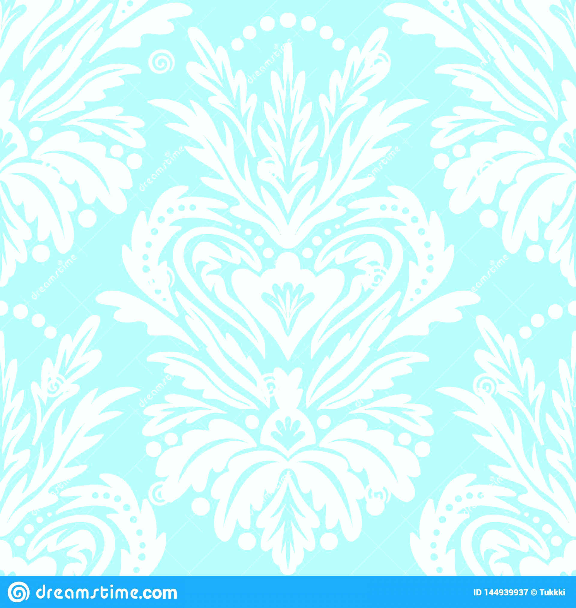Blue And White Damask Vectors: Vector Vintage Victorian Pattern Damask Motif Christmas Decor Chic Abstract Winter Floral Background Blue Seamless Image