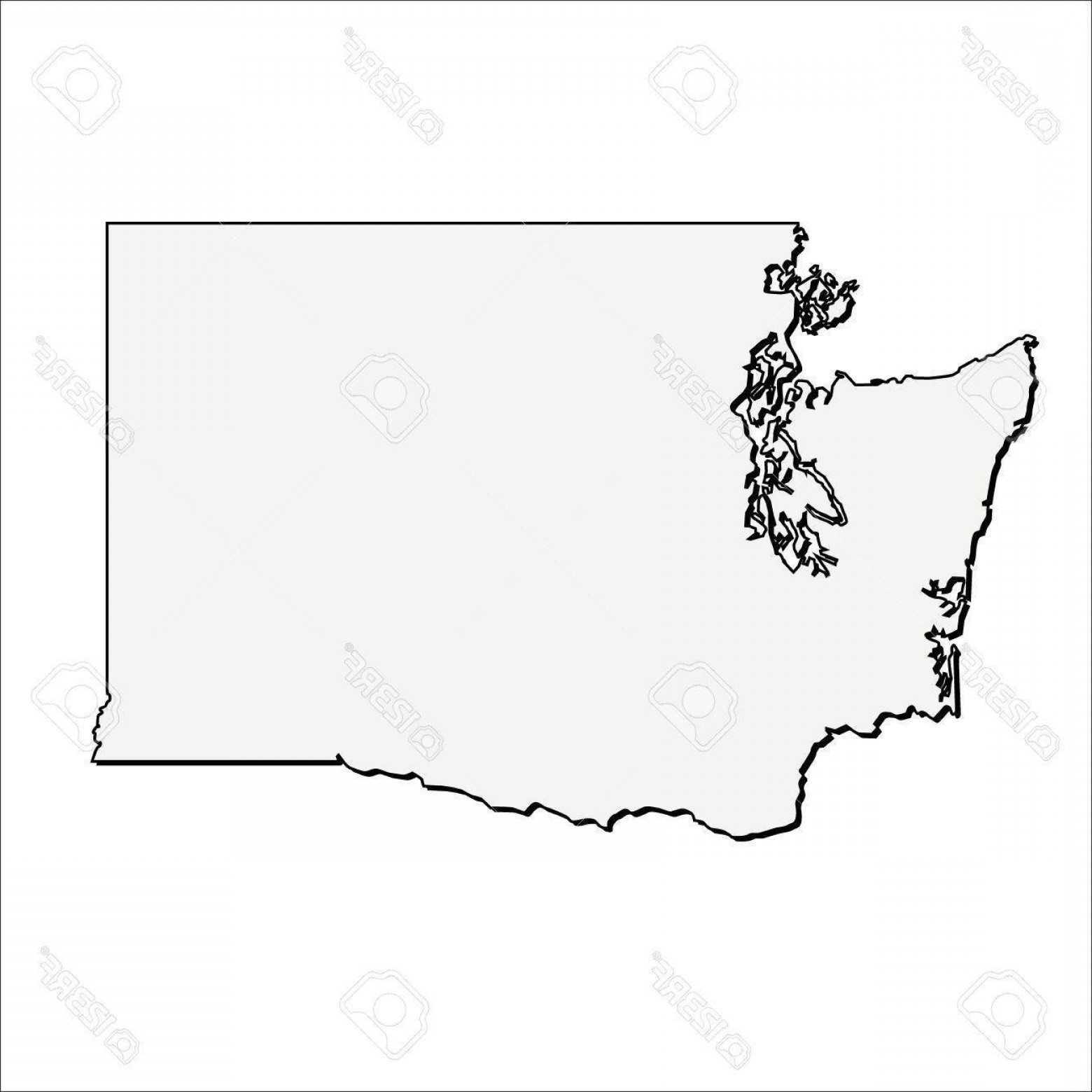 Washington State Map Vector: Vector Washington State D Outline Map