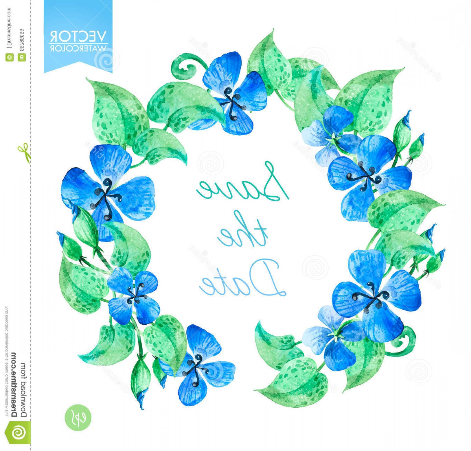 Summer Wreath Free Vector Watercolor: Vector Watercolor Floral Wreaths With Blue Summer Flowers Save The Date Template Illustration