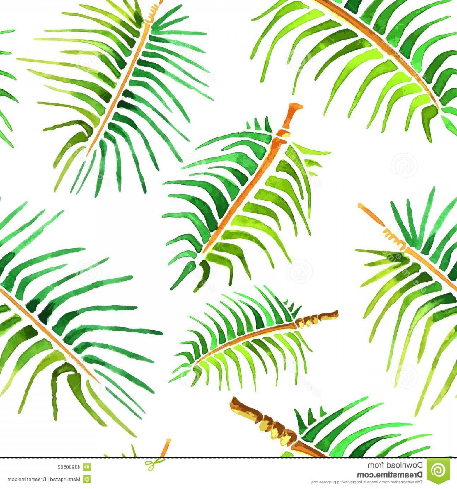 Watercolor Palm Tree Vector: Vector Watercolor Palm Tree Leaf Background Illustration