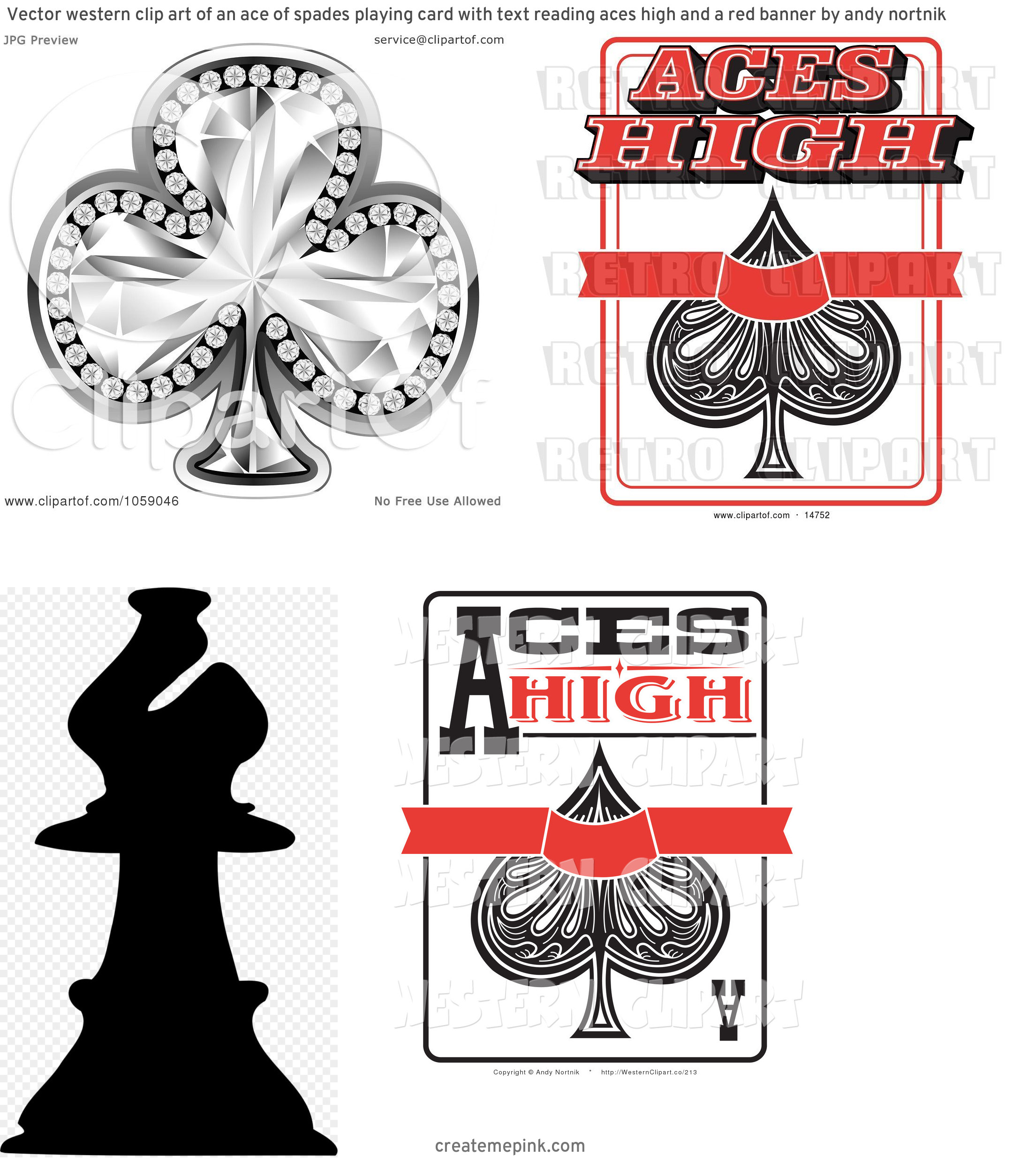 Spade Vector Clip Art: Vector Western Clip Art Of An Ace Of Spades Playing Card With Text Reading Aces High And A Red Banner By Andy Nortnik