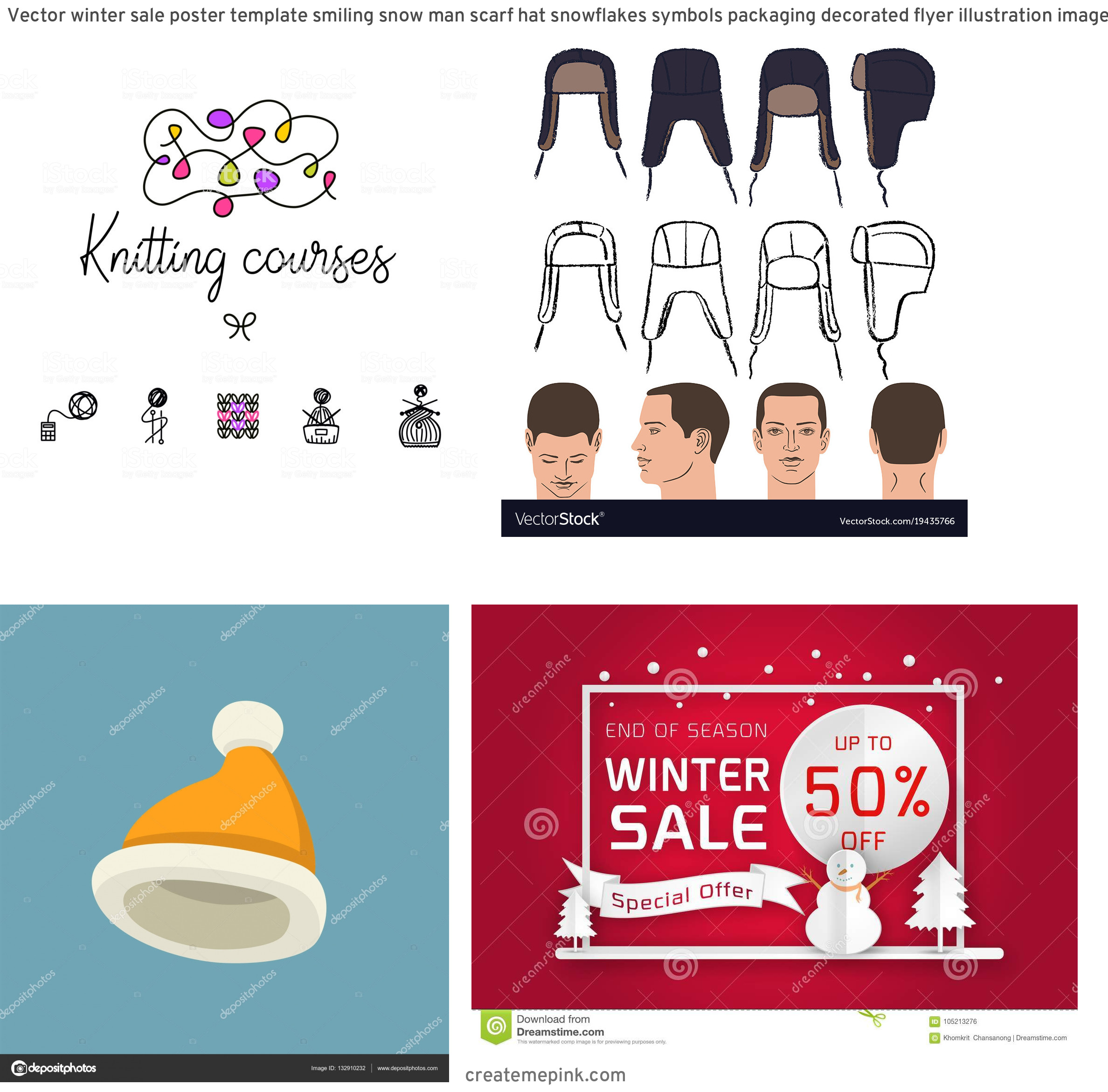 Winter Hat Vectors Templates: Vector Winter Sale Poster Template Smiling Snow Man Scarf Hat Snowflakes Symbols Packaging Decorated Flyer Illustration Image