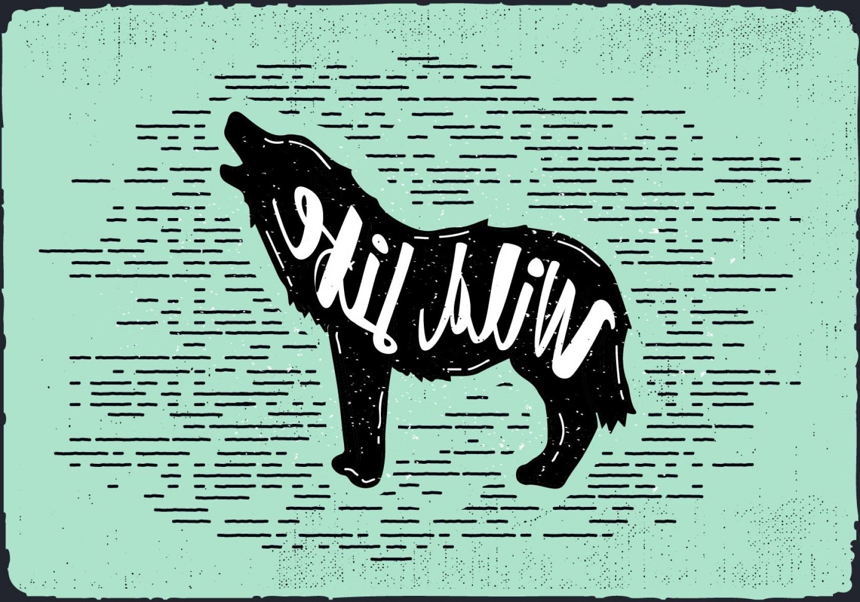 Calm Wolf Vector: Vector Wolf Silhouette Illustration With Typography