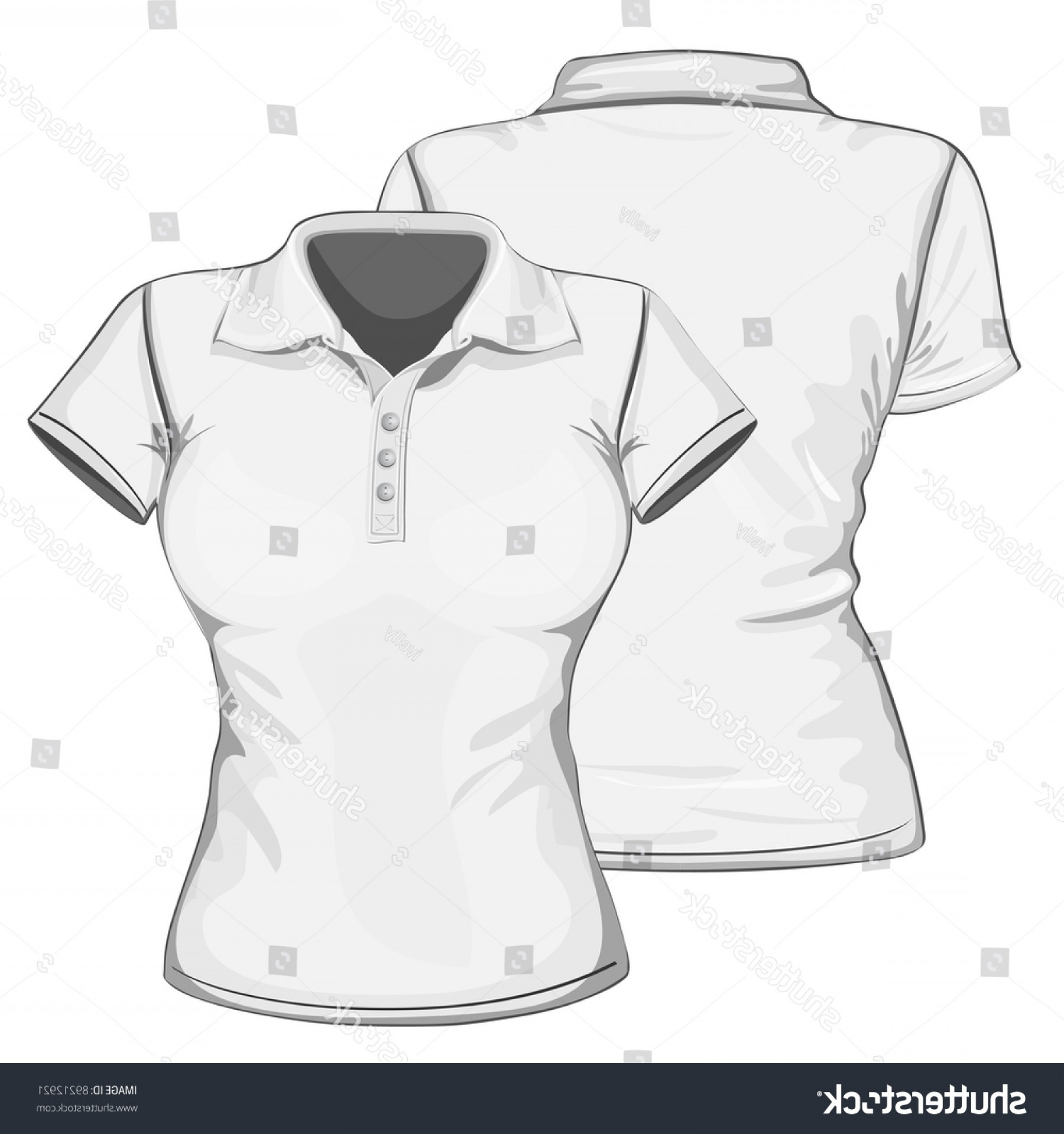 Female Polo Shirt Vector Template: Vector Womens Poloshirt Design Template