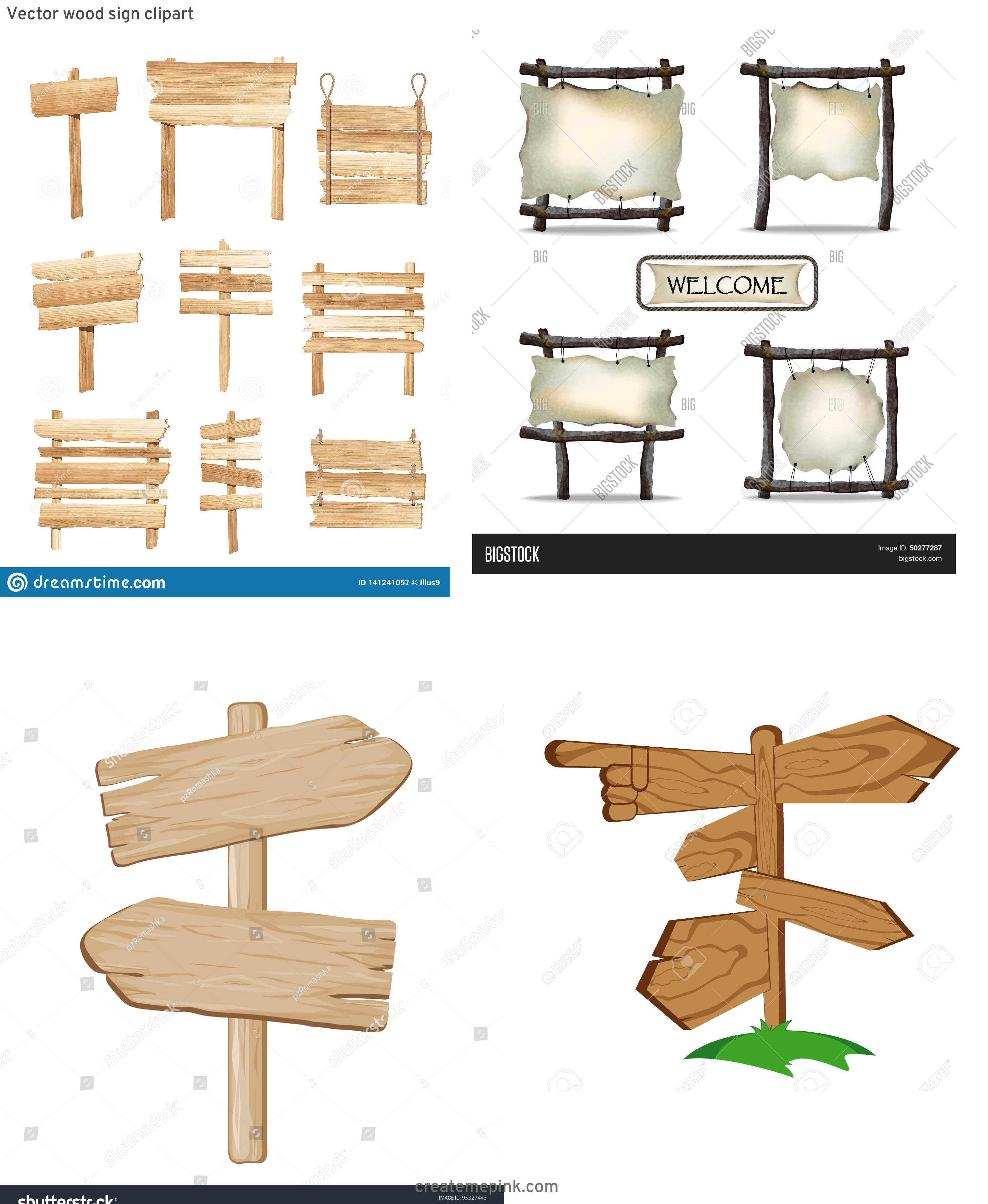 Wooden Sign Post Vector: Vector Wood Sign Clipart