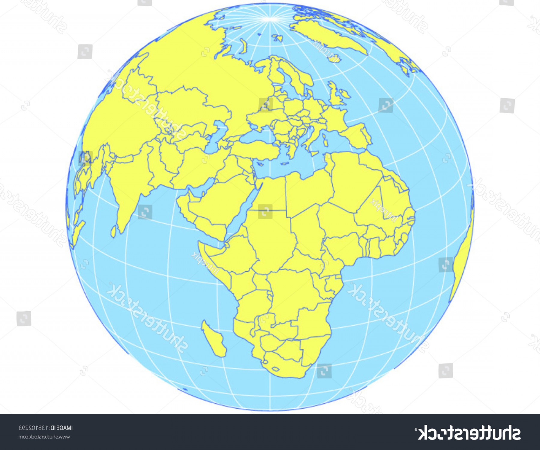 Vector Globe Countries: Vector World Map Orthographic Projection Globe