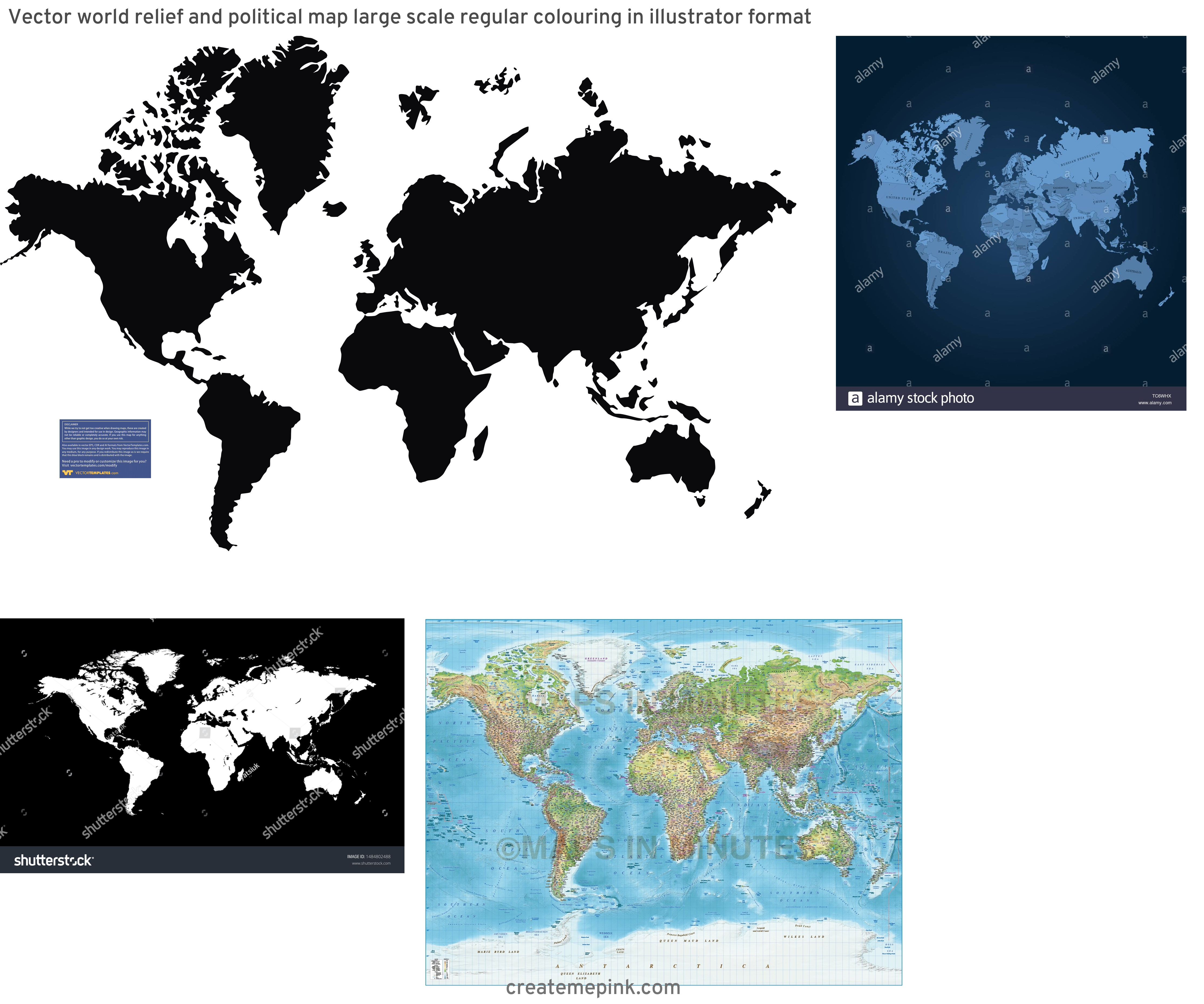 Accurate World Map Vector: Vector World Relief And Political Map Large Scale Regular Colouring In Illustrator Format