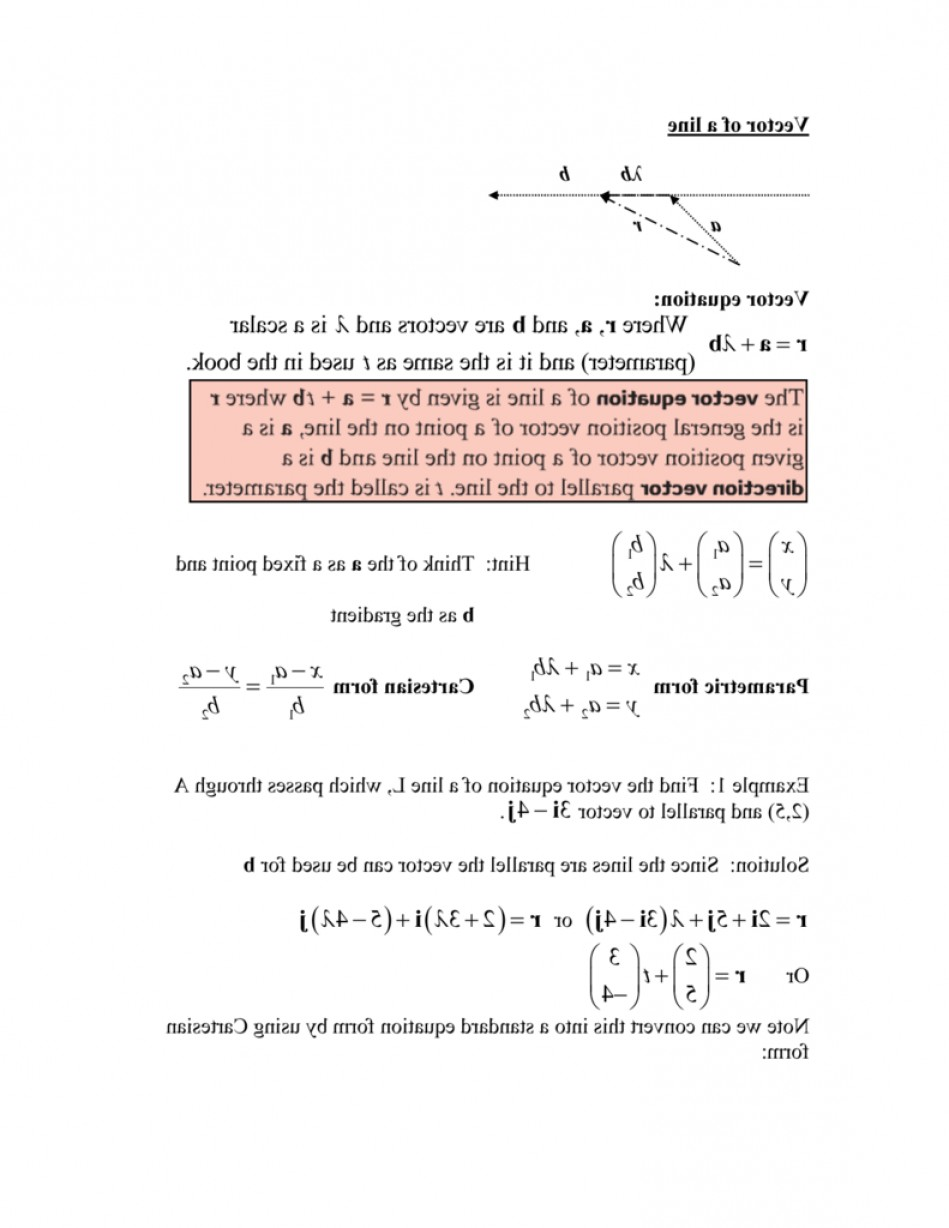 A Line Of Vector Equation R: Vectors Equation Of A Line Notes With Solutions
