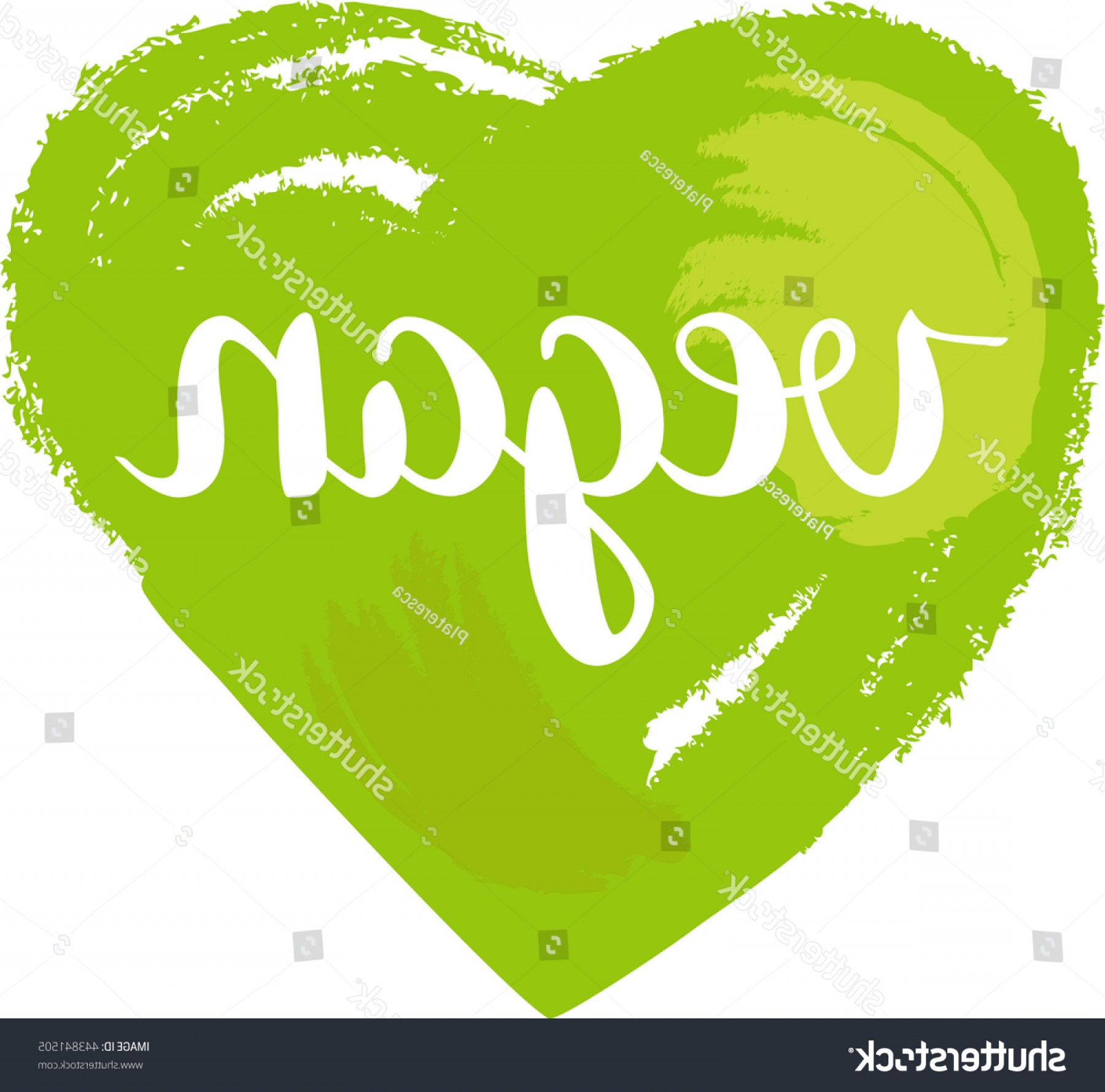 Vegan Heart Vectors: Vegan Heart Vector Drawing Word Written