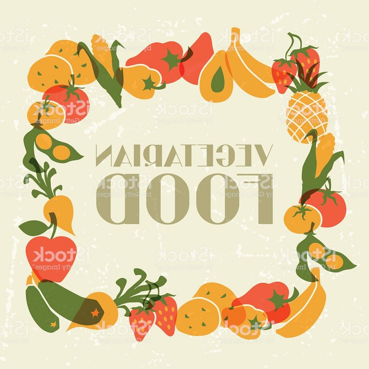 Food Vectors 50 S: Vegetarian Food Background Design With Stylized Vegetables Gm