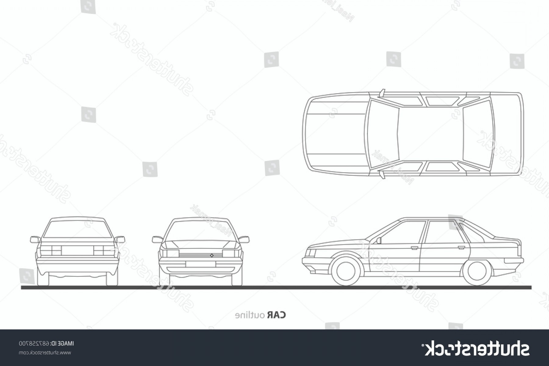 Car Vector Front Elevation: Vehicle Car Drawing Outline Vector Plan