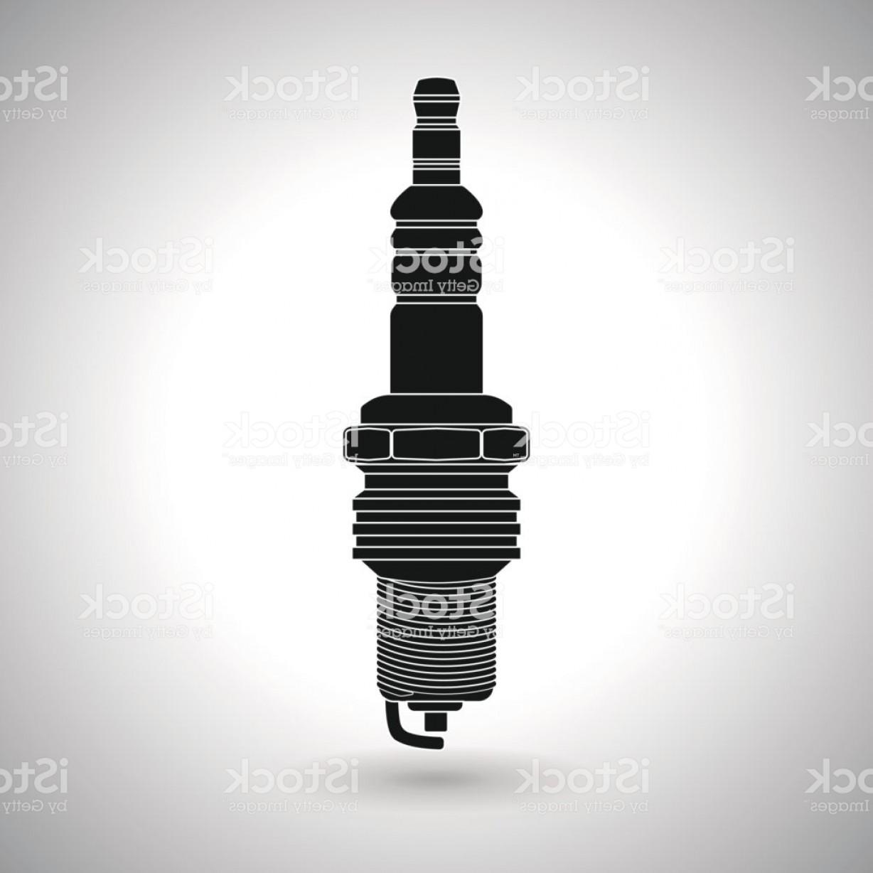 Spark Plug Vector: Vehicle Spark Plug Outline Black Drawing Gm