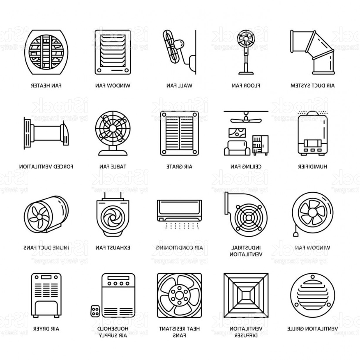 Vector Exhaust Fan: Ventilation Equipment Line Icons Air Conditioning Cooling Appliances Exhaust Fan Gm