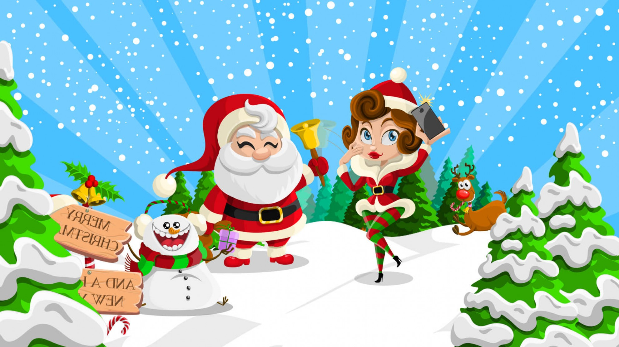 Vector-Based Grayscale Christmas: Very Merry Free Christmas Vectors