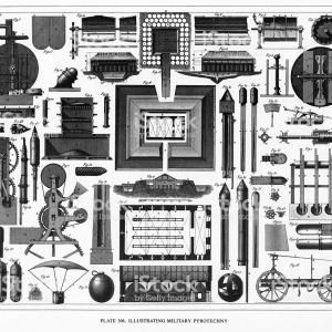 Firework Engraving Vector: Victorian Artillery And Military Pyrotechnics Engraving Gm