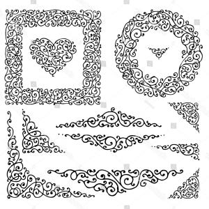 Victorian Ornamental Designs Vector: Victorian Curly Hand Drawn Ornamental Design