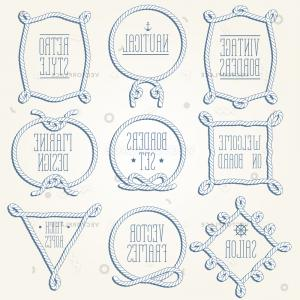 Rope Vector Vintage Frame: Vintage Designed Rope Borders Set Nautical Vector Illustration
