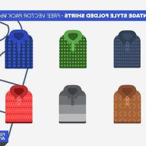 List Vector Blue Man Shirt: Vintage Folded Shirts Free Vector Pack Vol