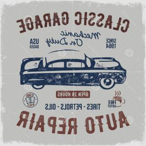 Diesel T-Shirt Vector: Vintage Hand Drawn Auto Repair T Shirt Design Classic Car Poster Typography Industry Tee Retro Style Grunge Background Old Image
