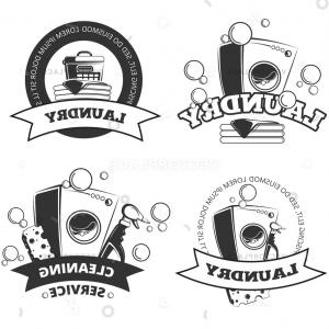 Vintage Badge Vector Basketball: Vintage Laundry Service Dry Clean Labels Vector Illustration