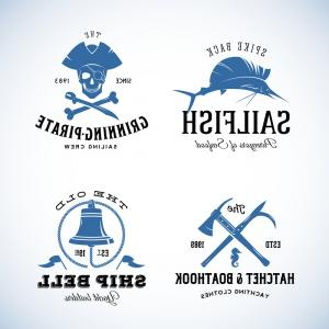 U S. Navy Shellback Logos Vector: Photostock Vector Vintage Nautical Labels Or Design Elements With Retro Textures And Typography Pirates Harpoons Knots