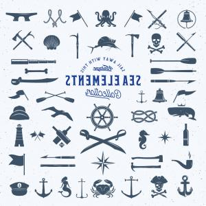 U S. Navy Shellback Logos Vector: Vintage Nautical Sea Logos Or Labels With Vector