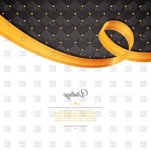 Blue Gold Ribbon Vector Background: Vintage Template With Gold Ribbon And Black Rhombic Pattern Vector Clipart