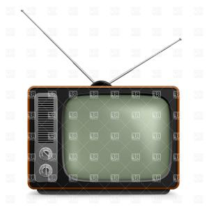 Vintage Television Vector: Vintage Tv Set Vector Clipart