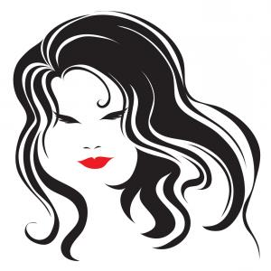 Vintage Female Vector: Vintage Woman With Beautiful Long Hair Vector