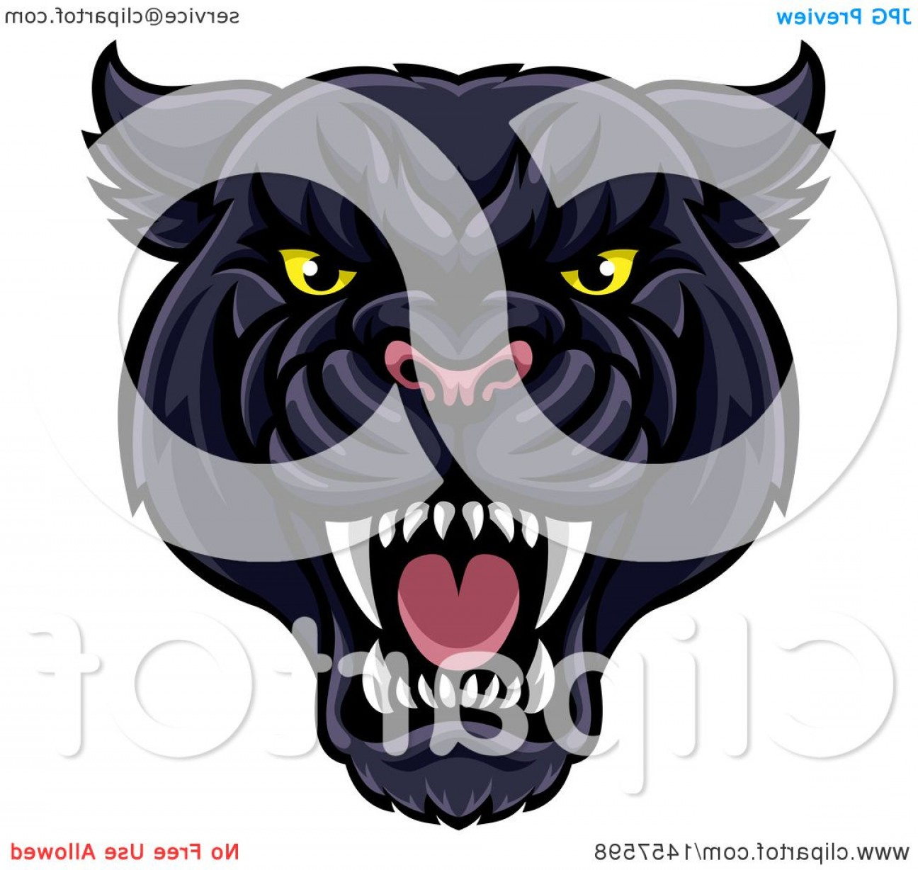 Panther Vector: Vicious Roaring Black Panther Mascot Head