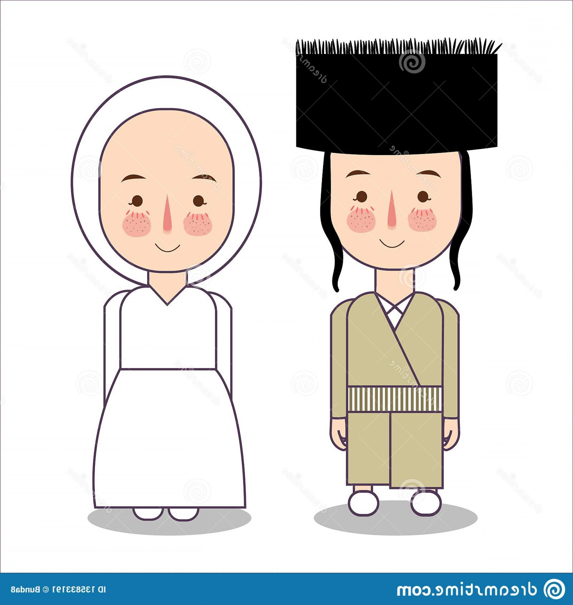 Victorian Vector Characters: Victorian Era France Europe Traditional National Clothes Set Cartoon Characters Costume Cute People Vector Flat Image
