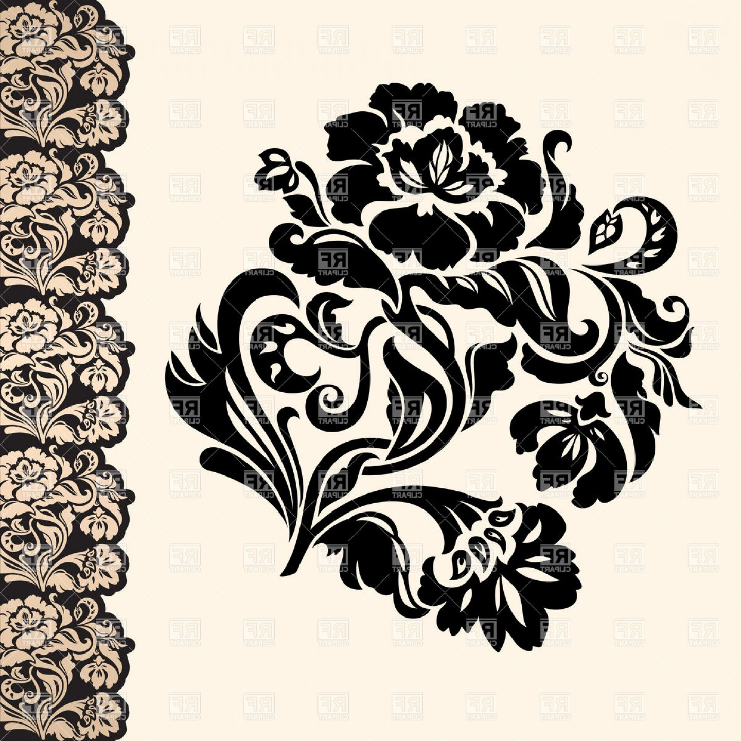 Victorian Motif Vector: Victorian Floral Design Element With Lacy Border Vector Clipart
