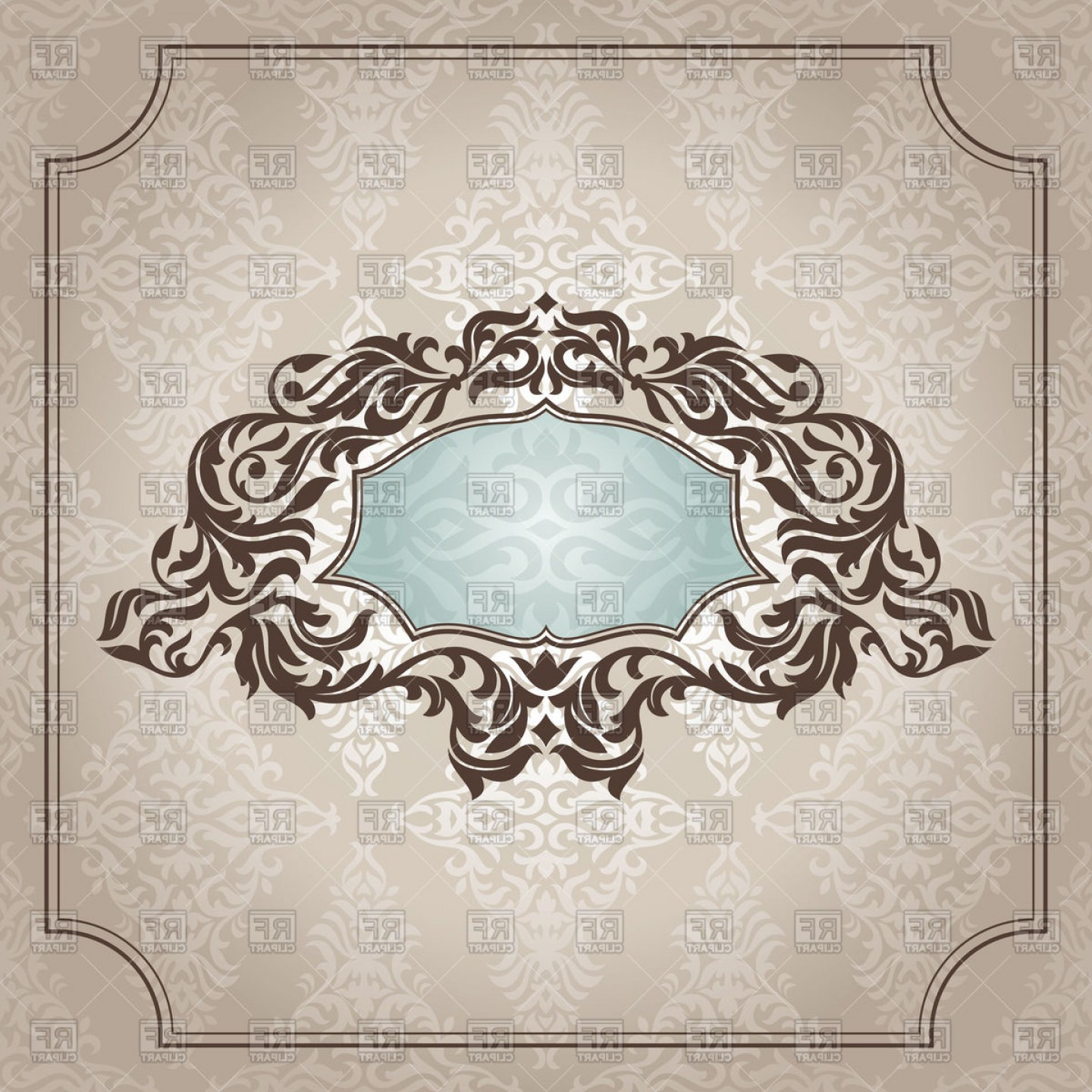 Aqua Victorian Vectors: Victorian Frame With Foliar Edging On Damask Background Vector Clipart