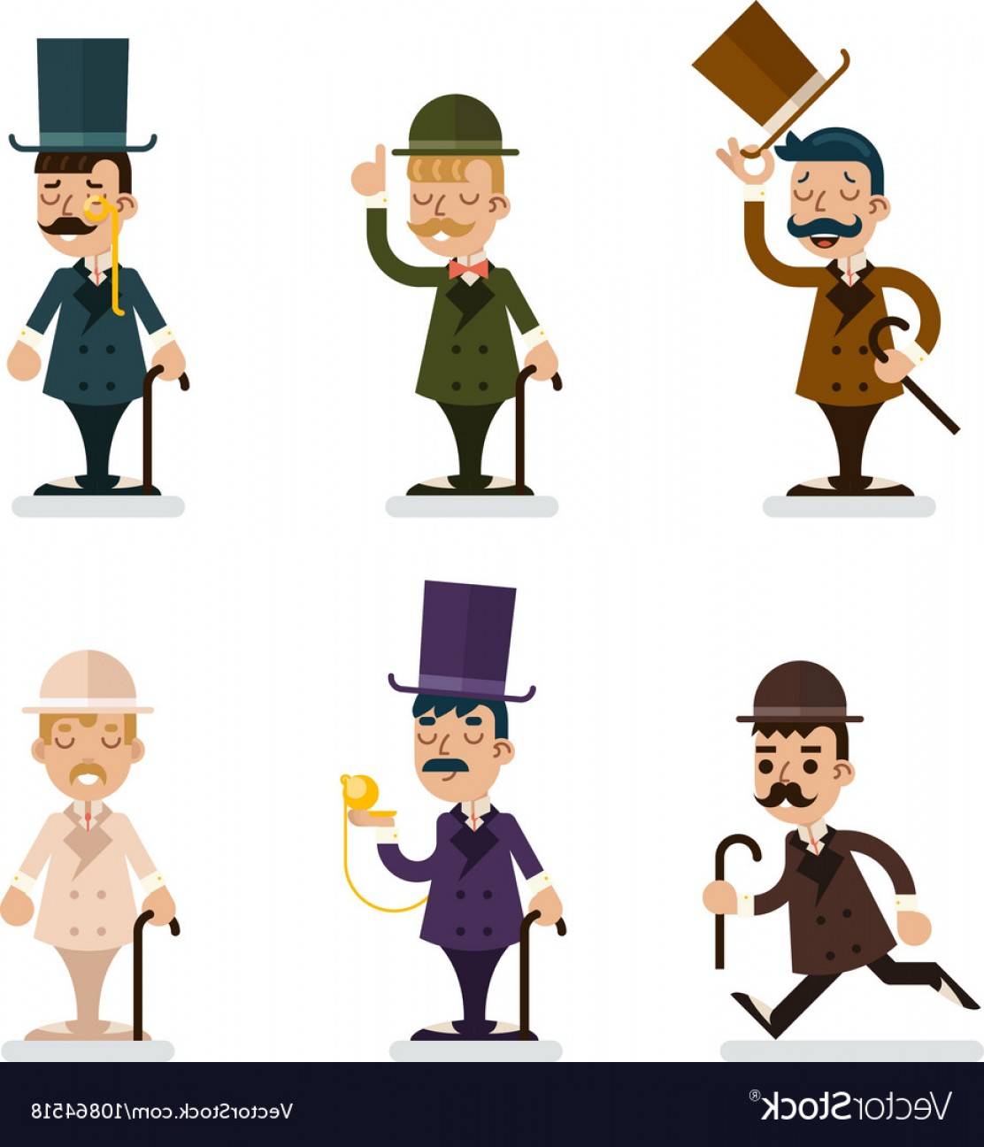 Victorian Vector Characters: Victorian Gentleman Characters Icons Set Isolated Vector