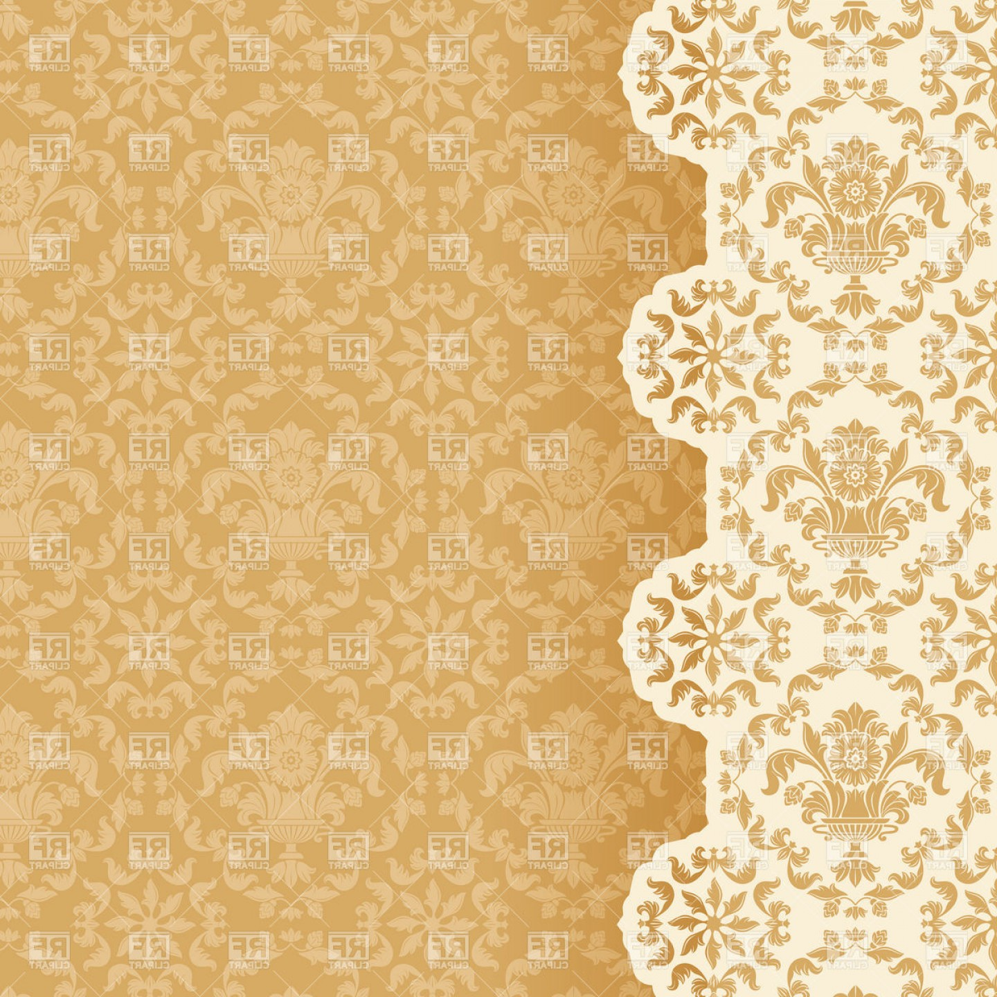 Victorian Motif Vector: Victorian Style Wallpaper Background Vector Clipart