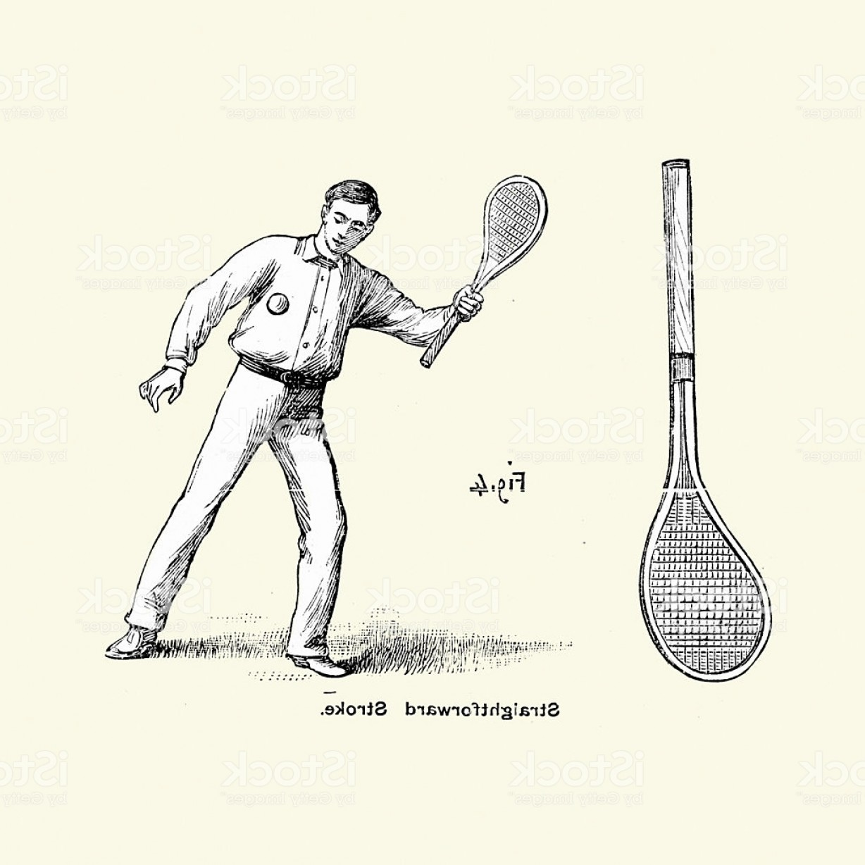 Vector Straightforward: Victorian Tennis Player Straightforward Stroke Gm
