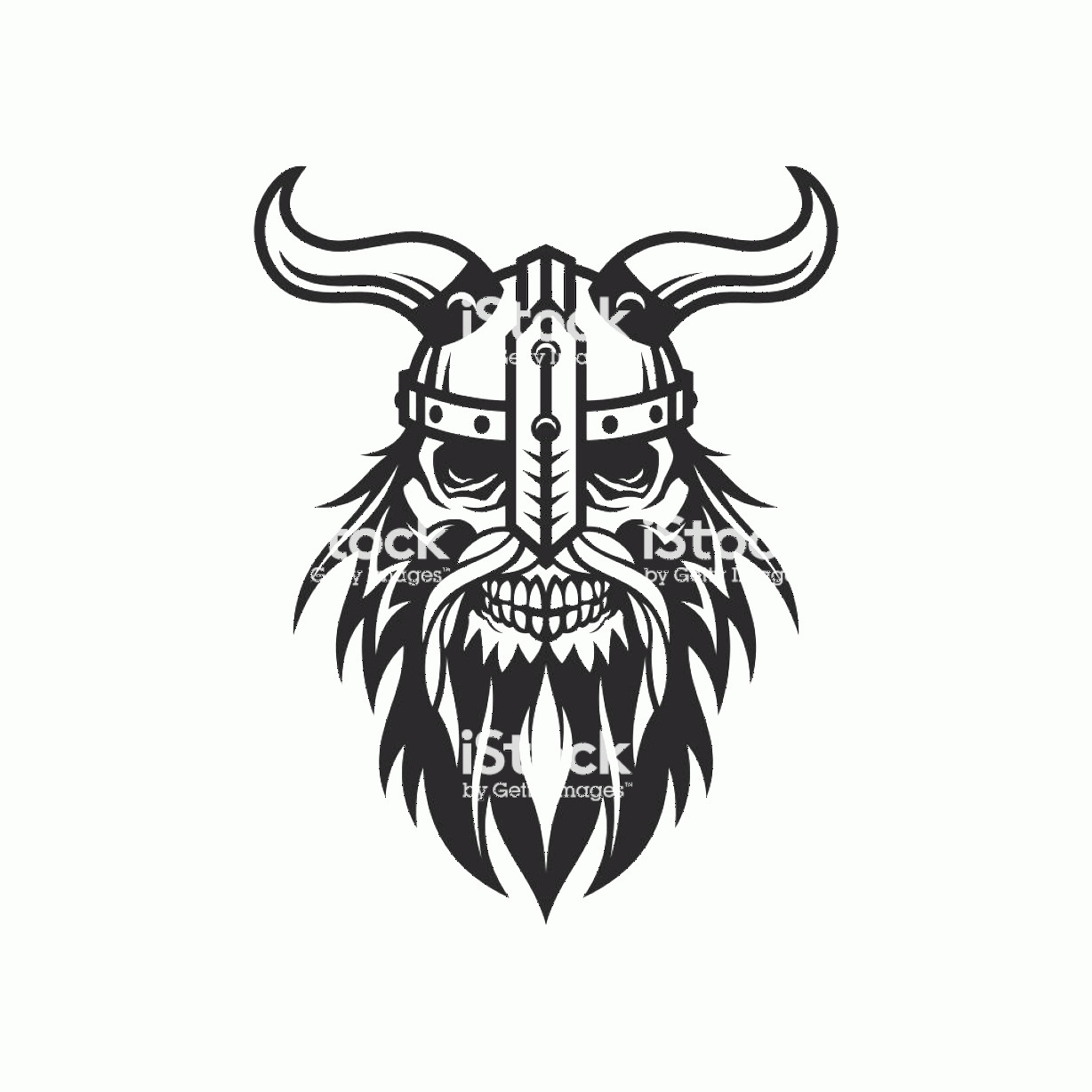 Viking Head Vector: Viking Head Skull In Helmet With Horns Stylized Cut Out Vector Silhouette Gm