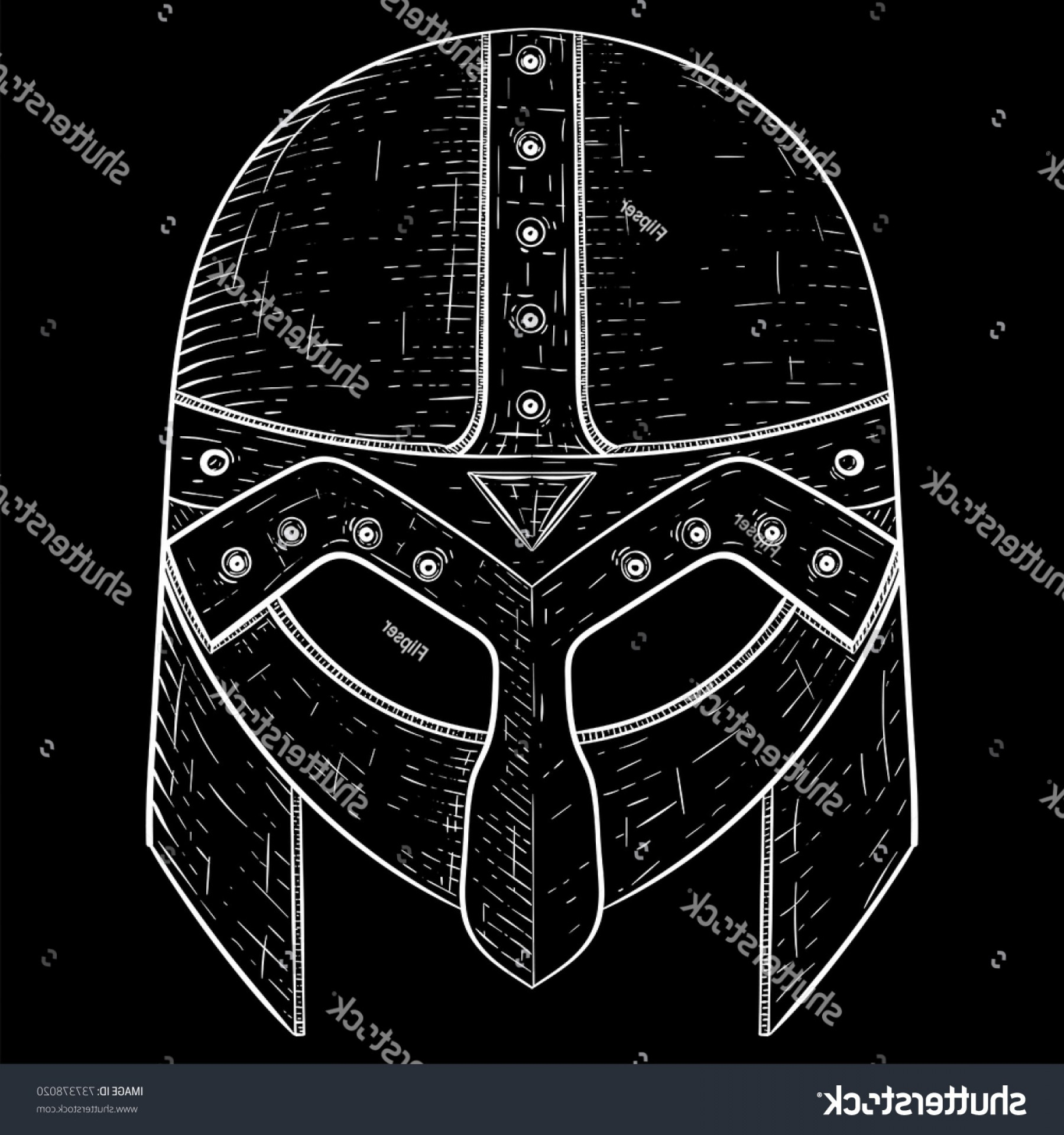 Boba Fett Vector Black And White: Viking Helmet Hand Drawn Sketch Vector