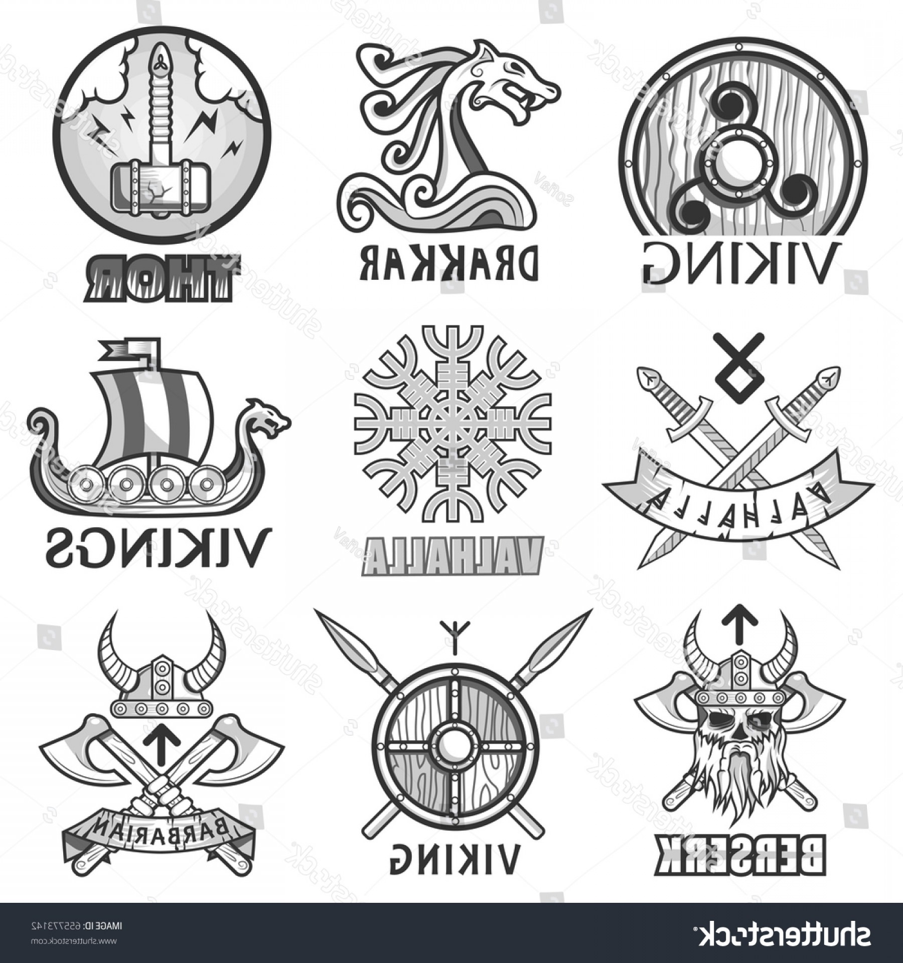 Warrior Thin Blue Line Vector: Viking Scandinavian Ancient Warriors Ship Arms