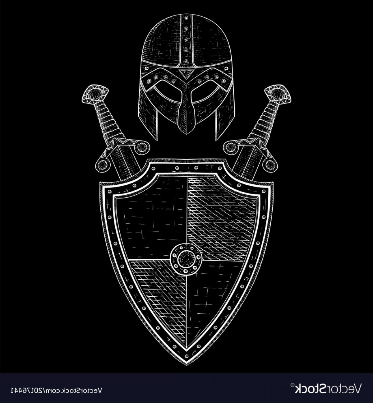 Boba Fett Vector Black And White: Viking Warrior Set Shield Swords And Helmet Vector